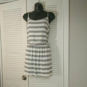 Michael Michael Kors Lg gray white dropwaist dress
